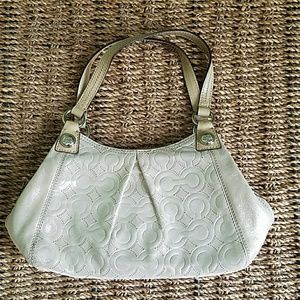 Coach iridescent sand color bag with C print